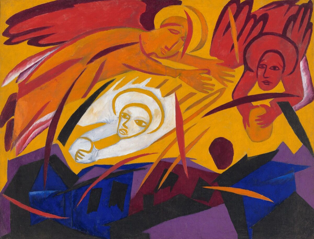 Natalia Goncharova, Harvest: Angels Throwing Stones on the City, 1911. © ADAGP, Paris and DACS, London 2019. State Tretyakov Gallery, Moscow. Courtesy of the Tate.