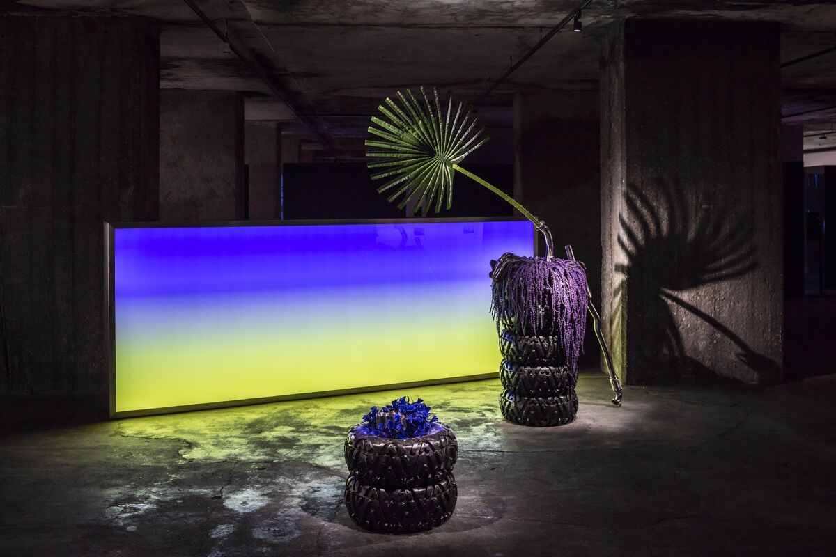 Installation view of Guan Xiao, Sunrise, 2015, at the 9th Berlin Biennale for Contemporary Art, The Feuerle Collection, Berlin, 2016. Photo by Timo Ohler. Courtesy of the artist, Kraupa-Tuskany Zeidler, Berlin, and Antenna Space, Shanghai