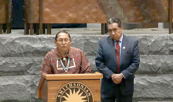 Governor Kurt Riley of the Pueblo of Acoma, with Conroy Chino, Traditional Leader of the Pueblo of Acoma, speaking at the NMAI conference on Tuesday. Image courtesy of the Smithsonian's National Museum of the American Indian.
