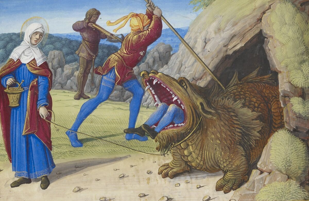 """The Taming the Tarasque, from """"Hours of Henry VIII,"""" France, Tours, ca. 1500. Photo by Graham S. Haber. Courtesy of The Morgan Library & Museum."""