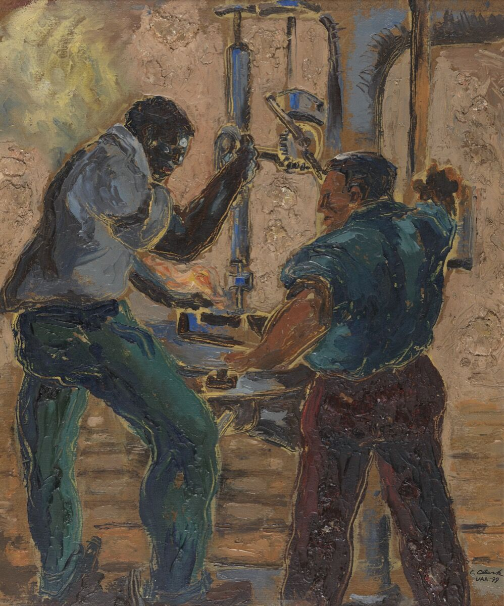 Claude Clark, Men and Drill Press, 1941. PAFA, Gift of Dr. Constance E. Clayton in loving memory of her mother Mrs. Williabell Clayton. Courtesy of Pennsylvania Academy of the Fine Arts, Philadelphia.