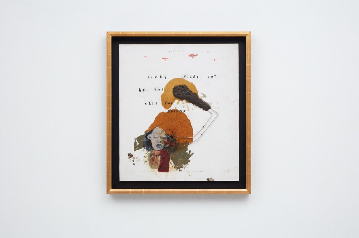"""Installation view of David Lynch, Ricky Finds out He Has Shit for Brains, 2017, in """"Squeaky Flies in the Mud,"""" at Sperone Westwater, 2019. Courtesy of Sperone Westwater, New York."""