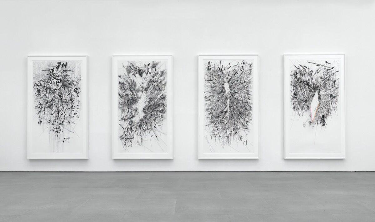 Julie Mehretu, installation view of Myriads, Only By Dark, 2014. © 2014 Gemini G.E.L. LLC. Courtesy of the artist, the Jordan Schnitzer Family Foundation, and Gemini G.E.L.