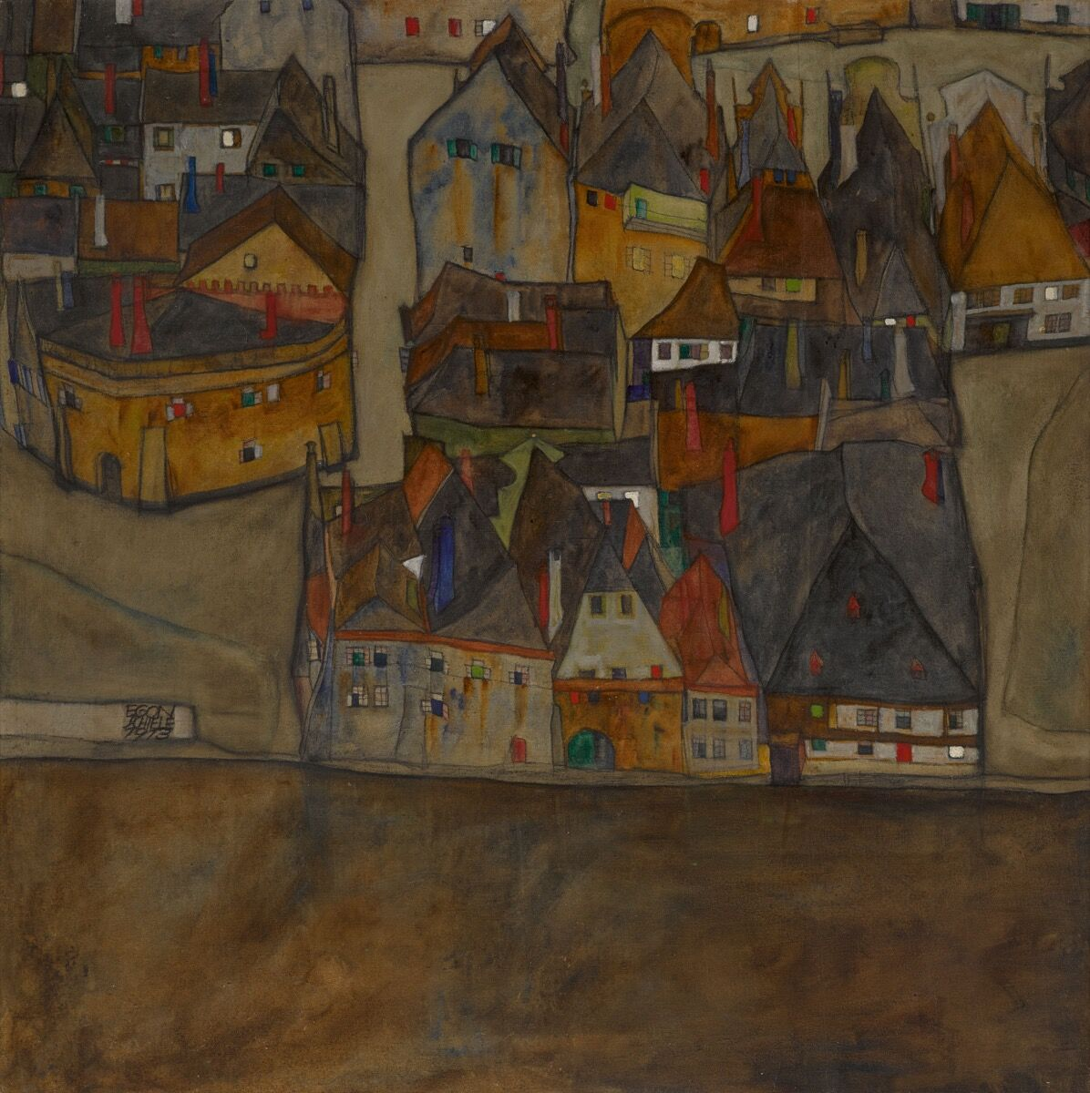 Egon Schiele, City in Twilight (The Small City II), 1913. Courtesy of Sotheby'