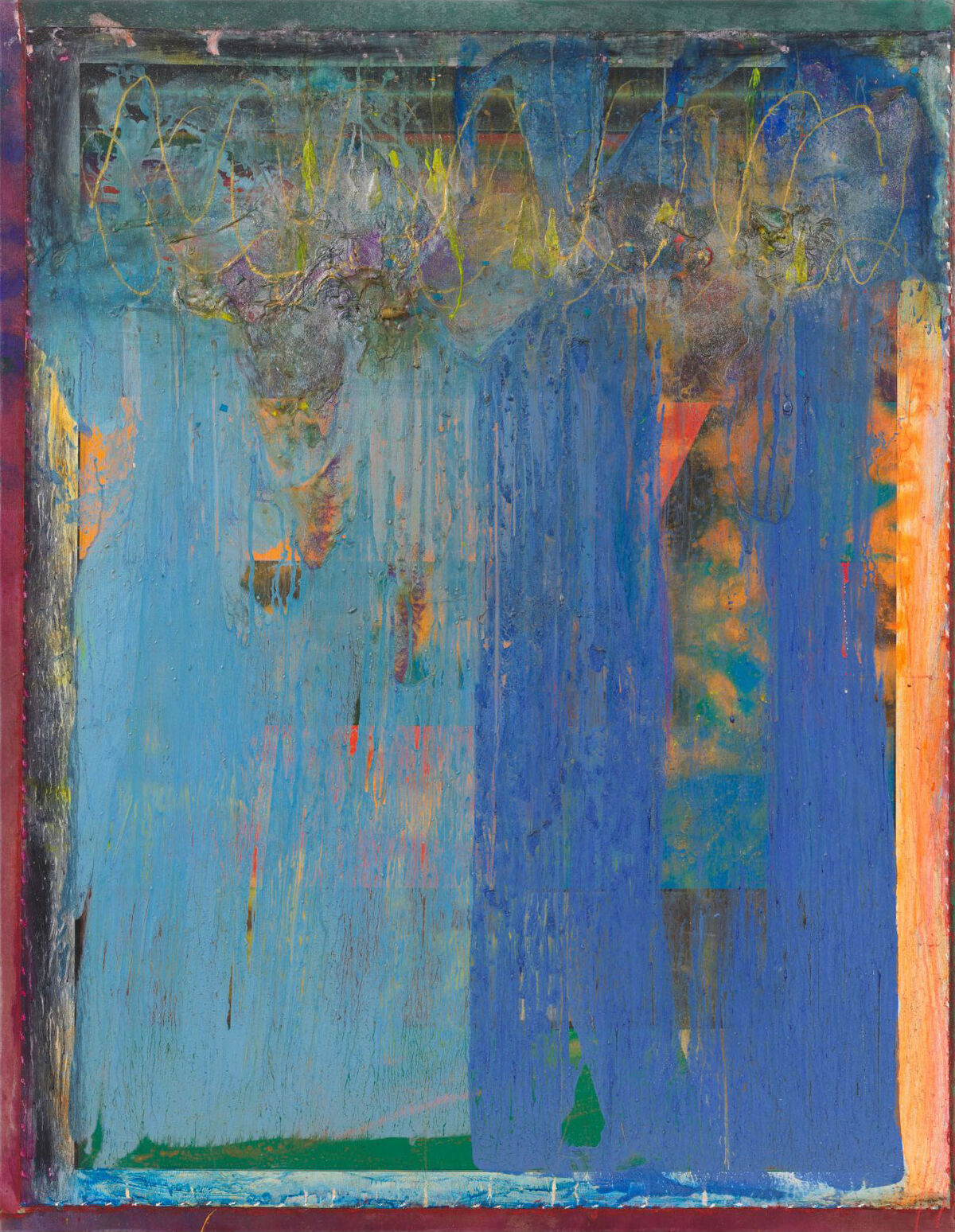 Frank Bowling, Two Blues, 2018. © Frank Bowling/Artists Rights Society (ARS), New York; DACS, London. Courtesy of Alexander Gray Associates, New York; Hales Gallery, London; and Marc Selwyn Fine Art, Los Angeles.