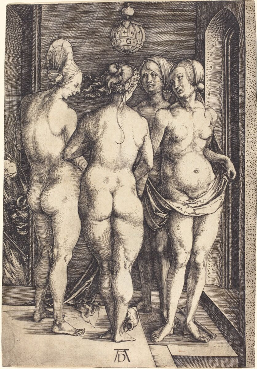 Albrecht Dürer, The Four Witches, ca. 1497. Image via Wikimedia Commons.