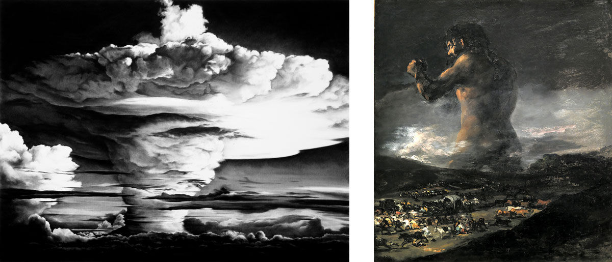 Left: Robert Longo,Untitled (Mike Test/Head of Goya), 2003. Courtesy of the artist; Right: Follower of Francisco Goya (formerly attributed to Goya),The Colossus, circa 1818-1825. Collection of Museo del Prado. Image via Wikimedia Commons.