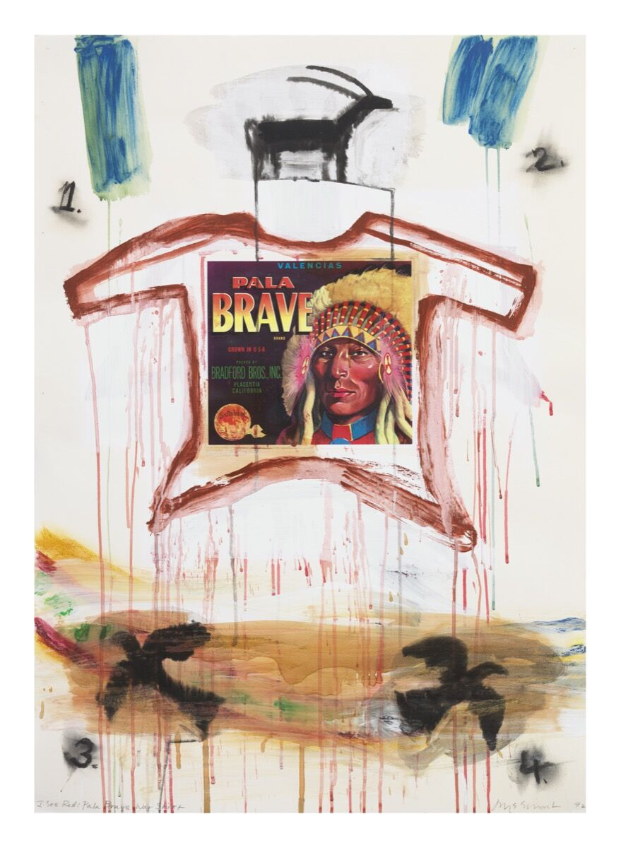 Jaune Quick-to-See Smith, I See Red: Pala Brave War Shirt, 1992. Courtesy of the artist and Garth Greenan Gallery, New York.