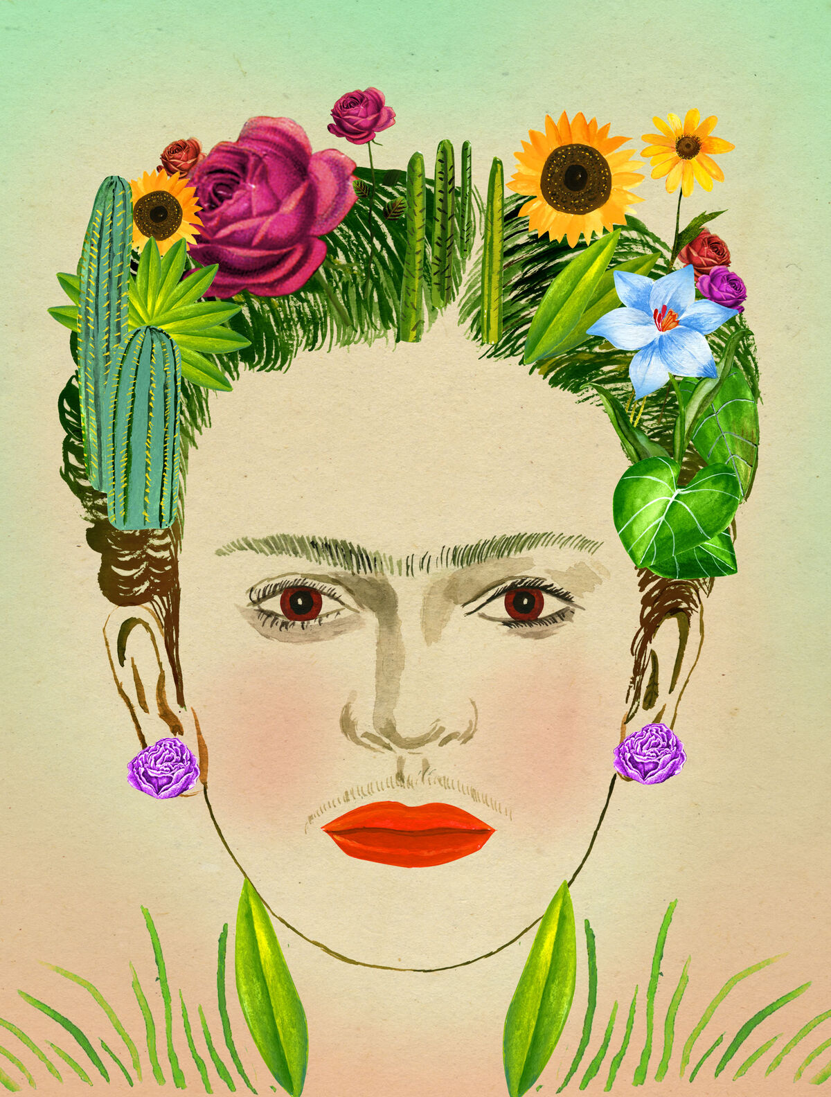 Illustration of Frida Kahlo, excerpted from Ellen Weinstein's Recipes for Good Luck, 2018. Published by Chronicle Books.
