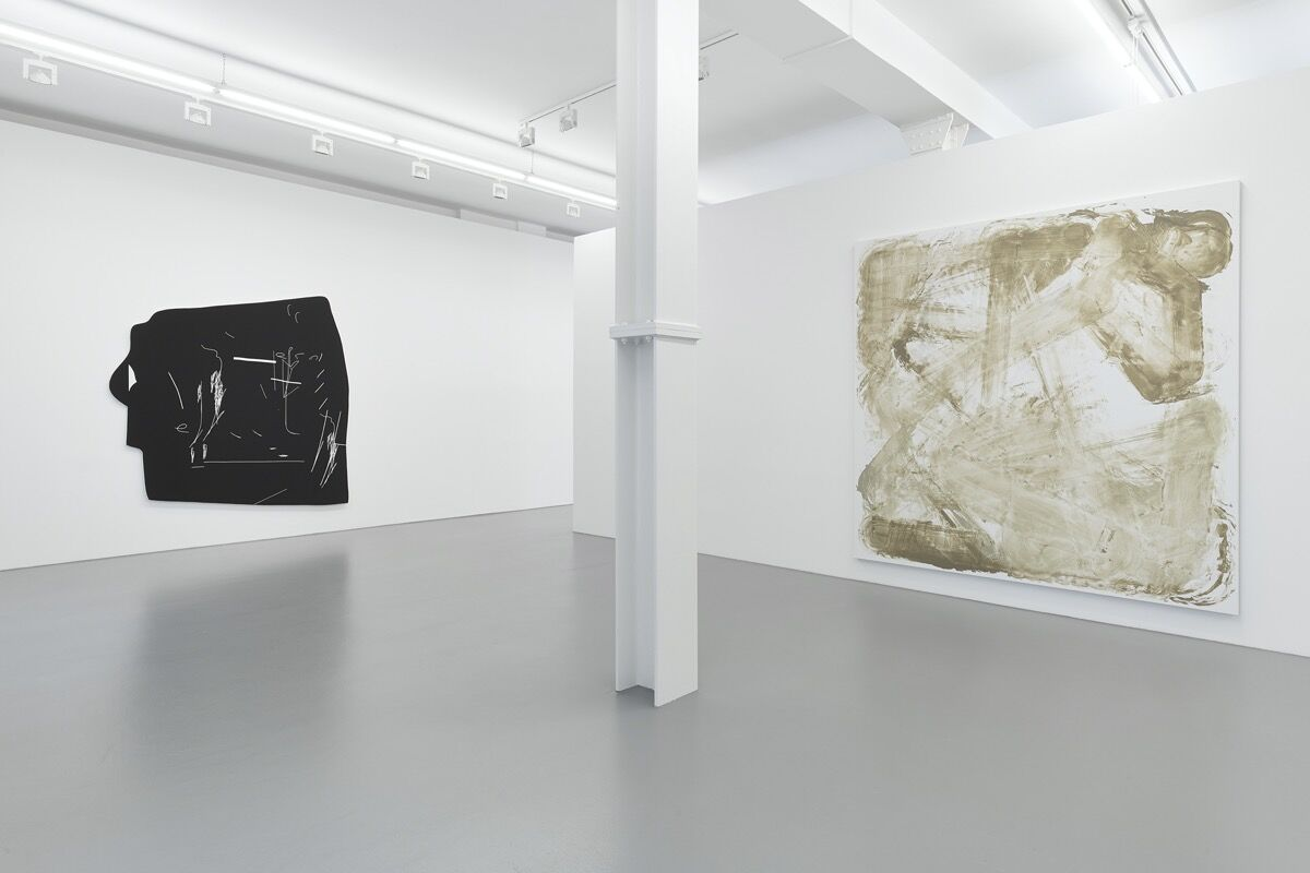 """Installation view of """"Open Source: Art at the Eclipse of Capitalism"""" at Galerie Max Hetzler, 2015. Curated by Lisa Schiff, Leslie Fritz and Eugenio Re Rebaudengo. Courtesy of Lisa Schiff and Galerie Max Hetzler."""