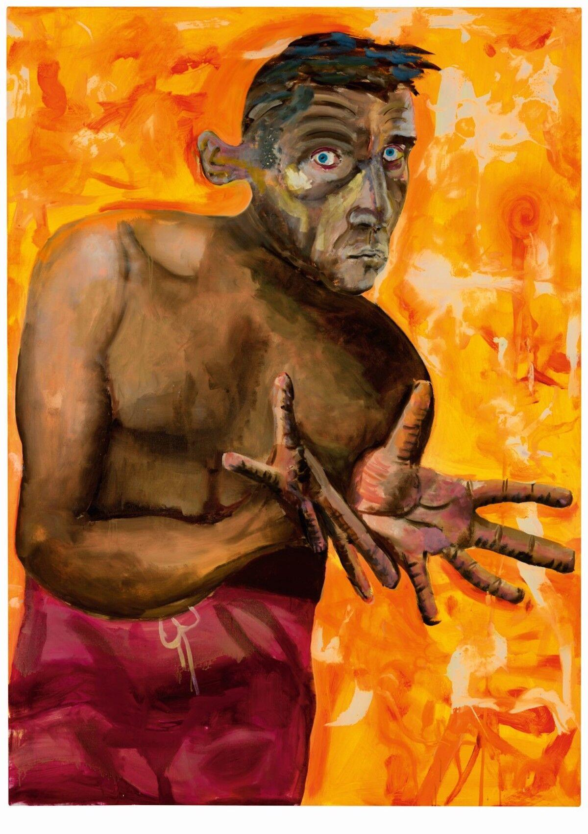 Albert Oehlen, Selbstportrait Mit Leeren Händen (Self-Portrait With Empty Hands), 1998. Courtesy Sotheby's.