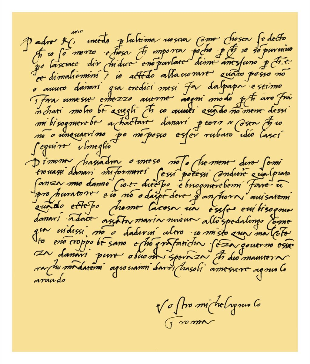 Letter from Michaelangelo Buonarroti to his father, June 1508. Photo by The Print Collector/Print Collector/Getty Images.
