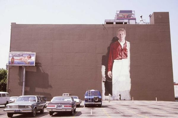 Kent Twitchell's Ed Ruscha mural. Photo via Kent Twitchell's Myspace.