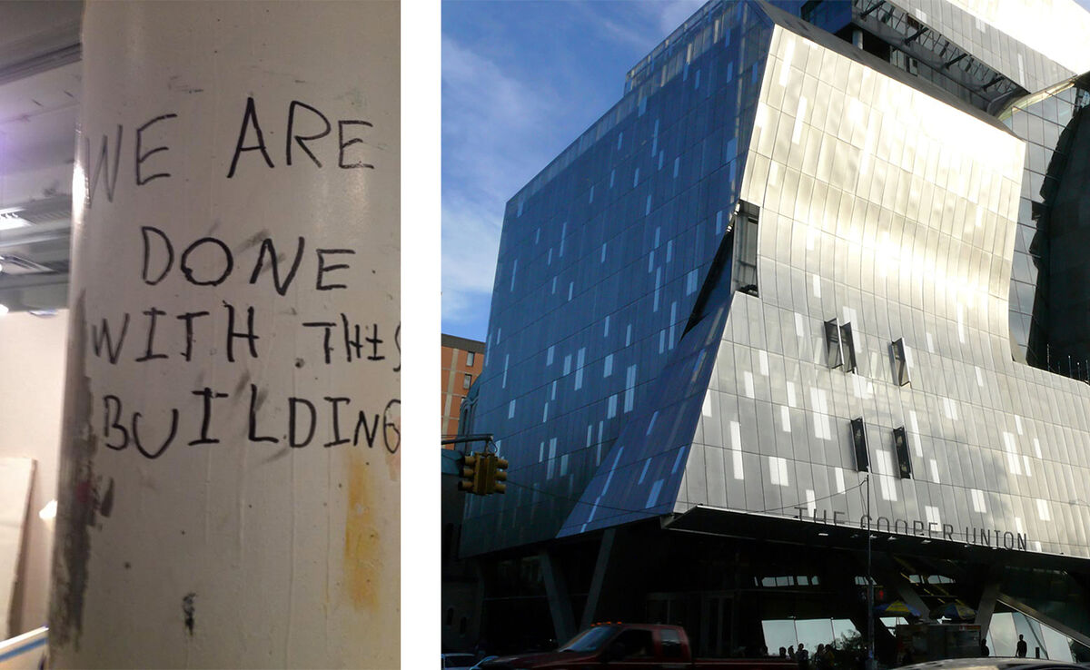 Left:Graffition a column in the basement of 41 Cooper Square, courtesy Free Cooper Union. Right, the building.