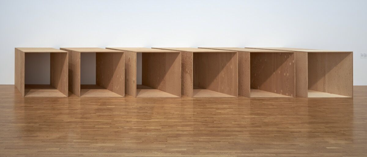 Donald Judd, Untitled, 1973, an additional sixth unit fabricated in 1975. © 2020 Judd Foundation / Artists Rights Society (ARS), New York. Courtesy of National Gallery of Canada, Ottawa; and The Museum of Modern Art, New York..