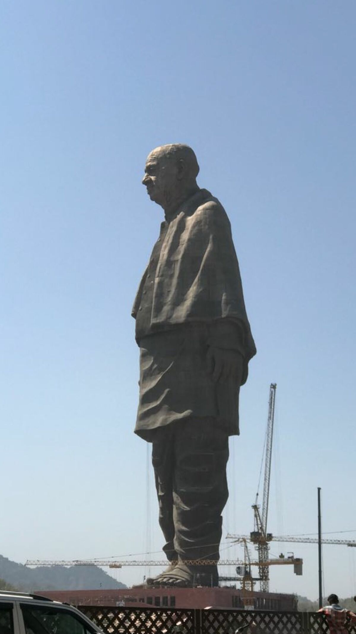 The Statue of Unity, depicting Sardar Vallabhbhai Patel, in Gujarat state, India. Photo by Rahul 71144, via Wikimedia Commons.