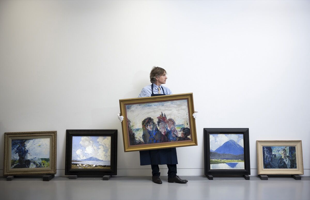 Sotheby's pre-sale exhibition of Irish art that went up for auction in November 2019. Photo by Charles McQuillan/Getty Images for Sotheby's.