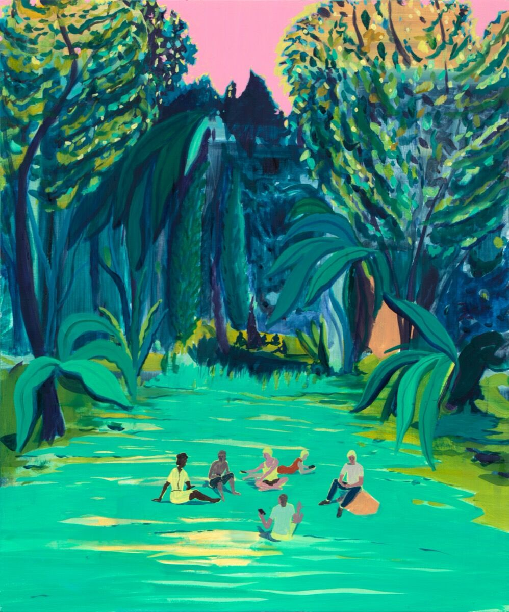 Jules de Balincourt, Park People Versus Forrest People, 2020. © Jules de Balincourt. Photo by Jason Mandella. Courtesy of the artist and Galerie Thaddaeus Ropac.