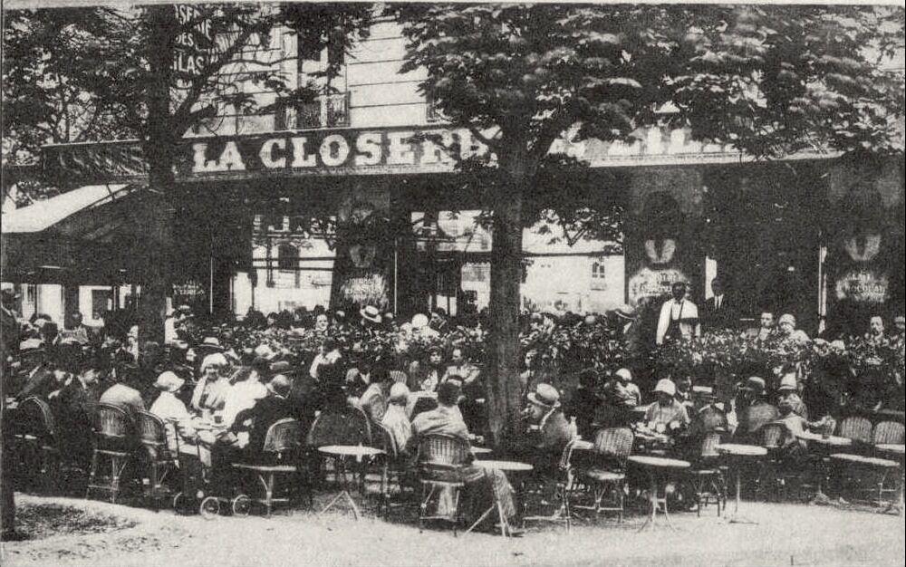 La Closerie des Lilas, Le Café de la Société Artistique et Littéraire Française et Etrangère, 171, Boulevard de Montparnasse, Paris, 1909. Photo via Wikimedia Commons.