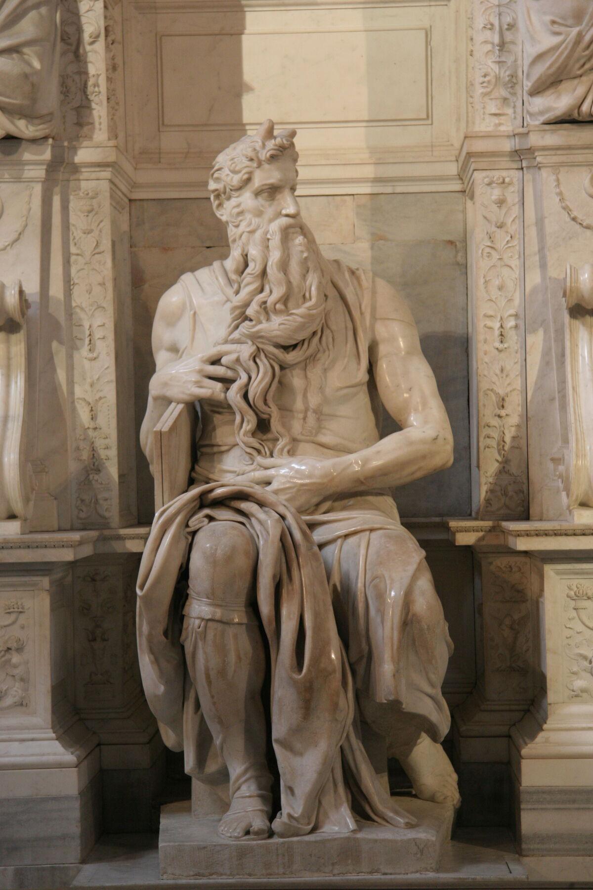 Michelangelo Buonarroti, Moses, 1513–15. Image via Wikimedia Commons.