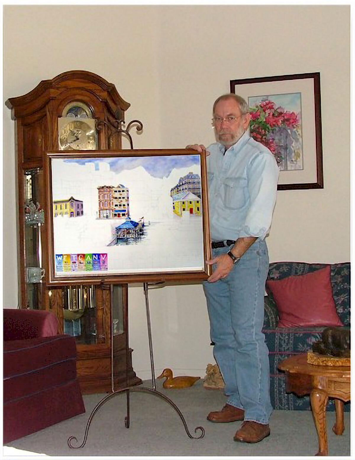 Los miembros de WetCanvas de todo el mundo posan con una pintura colaborativa que presenta escenas arquitectónicas de diferentes países representados en la comunidad en línea, c.  2004. Cortesía de Scott Burkett.