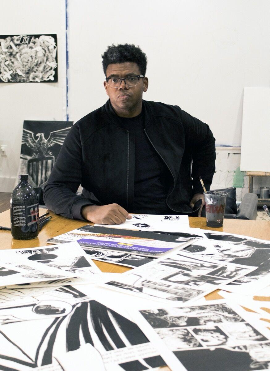 Portrait of Mark Thomas Gibson in the artist's Philadelphia studio, 2020. Photo by Kathryn Gegenheimer. Courtesy of the artist.