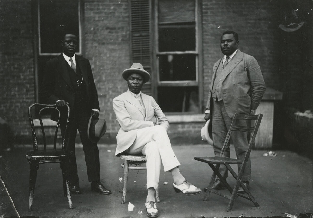 James Van Der Zee, Marcus Garvey with George O. Marke and Prince Kojo Tovalou-Houénou, 1924. © Donna Mussenden Van Der Zee. Courtesy of Howard Greenberg Gallery, New York.