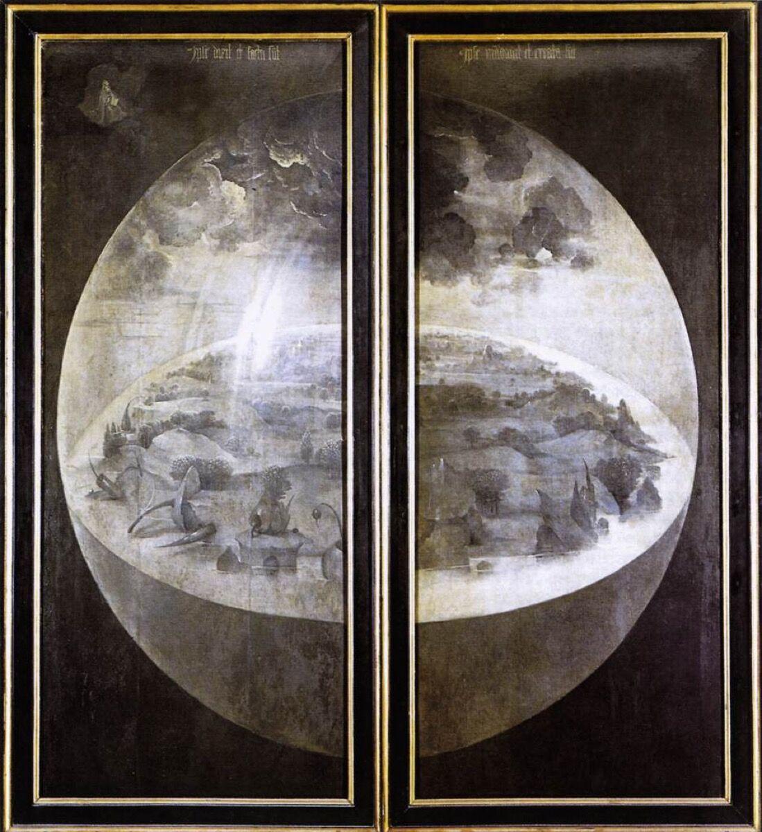 Puertas exteriores de Hieronymus Bosch, El jardín de las delicias, 1490-1500.  Imagen vía Wikimedia Commons.