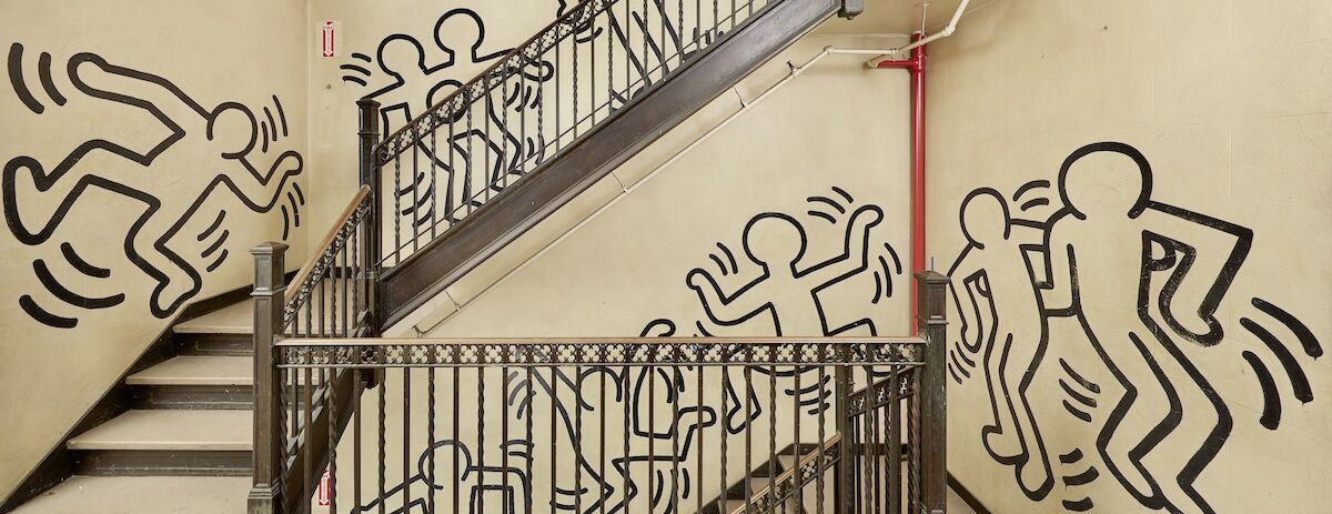 Keith Haring, Untitled (The Grace House Mural), detail view at Grace House, ca. 1983–84. Est. $3 million–$5 million. Photo by Tom Powel Imaging. Courtesy Bonhams.