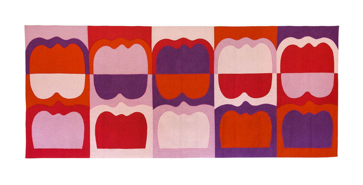 Ilona Keserü Ilona, Wall-Hanging with Tombstone Forms (Tapestry), 1969. Courtesy of the artist, Elizabeth Dee New York and Kisterem Budapest.