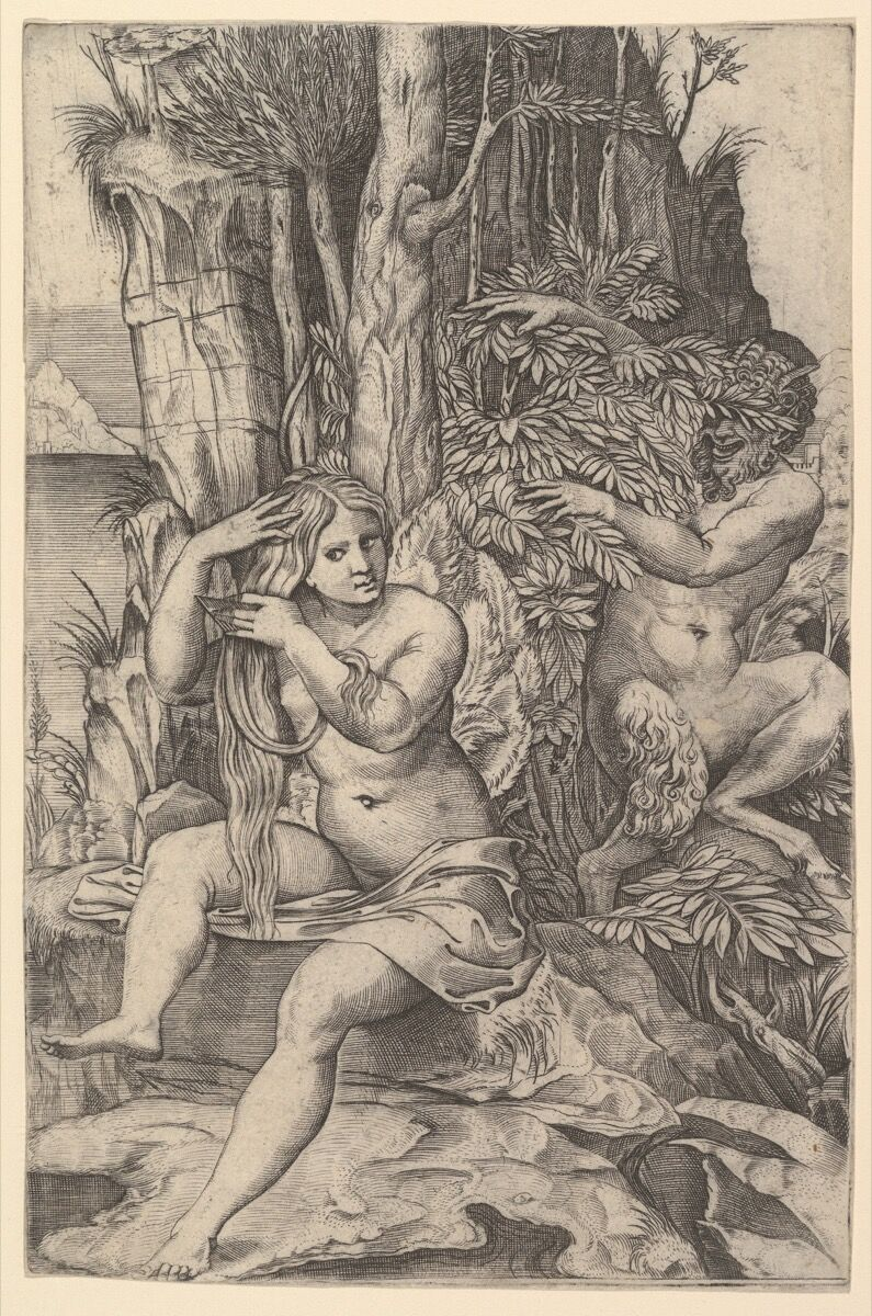Marco Dente, Pan spying on the nymph Syrinx who is seated on a rock, combing her hair, ca. 1516–20. Courtesy of the Metropolitan Museum of Art.
