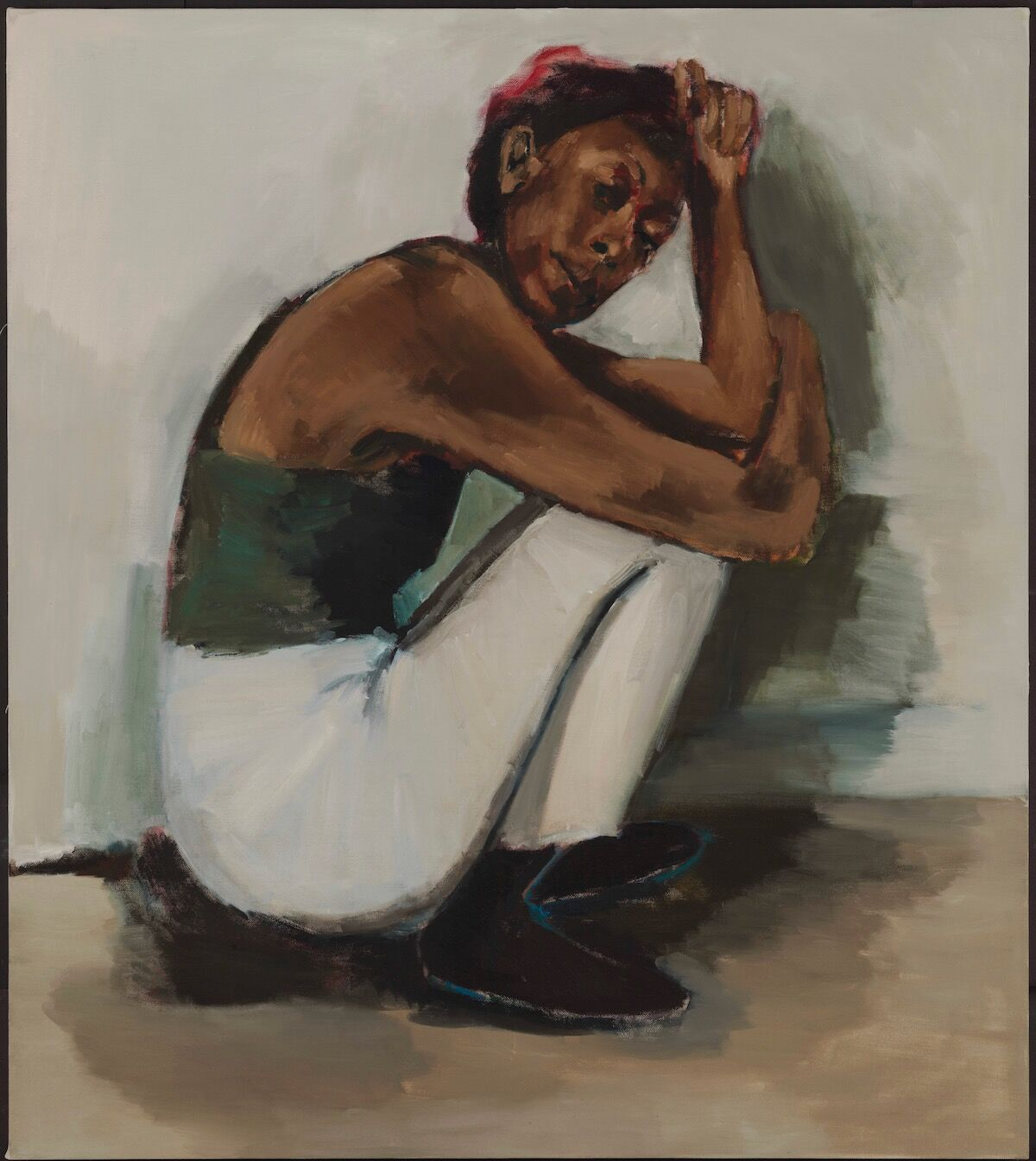 Lynette Yiadom-Boakye, Radical Trysts, 2018, oil on linen. Courtesy Corvi-Mora, London and Jack Shainman Gallery, New York; photo © Marcus Leith.