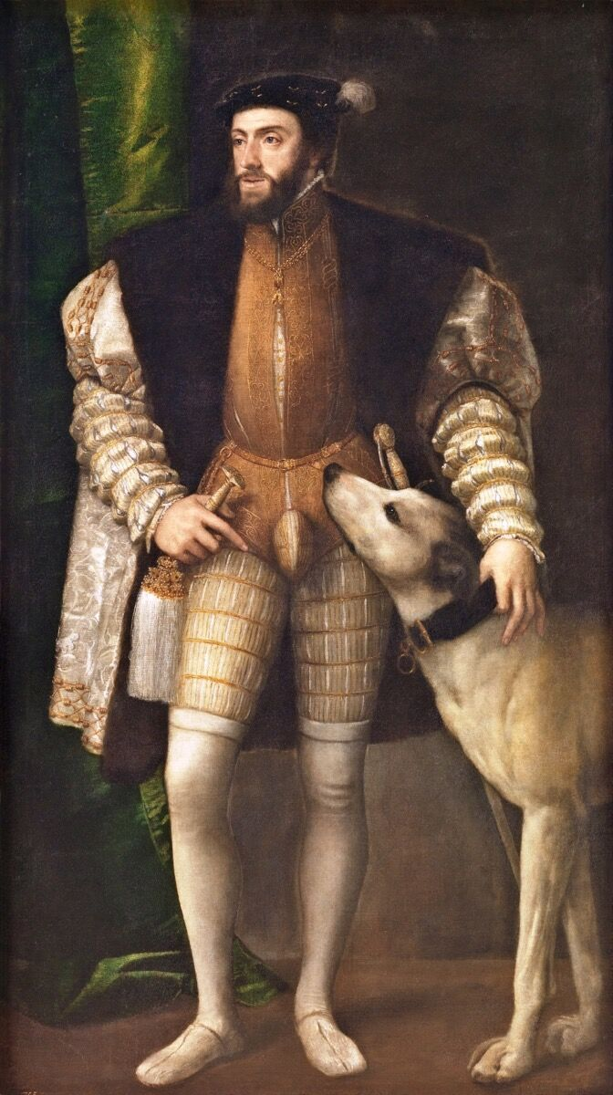 Titian, Charles V with a Dog, 1533. Photo via Wikimedia Commons.