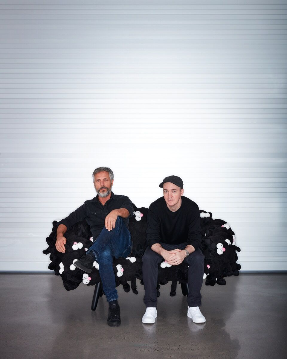 Portrait of Humberto Campana and KAWS. Courtesy of Friedman Benda.