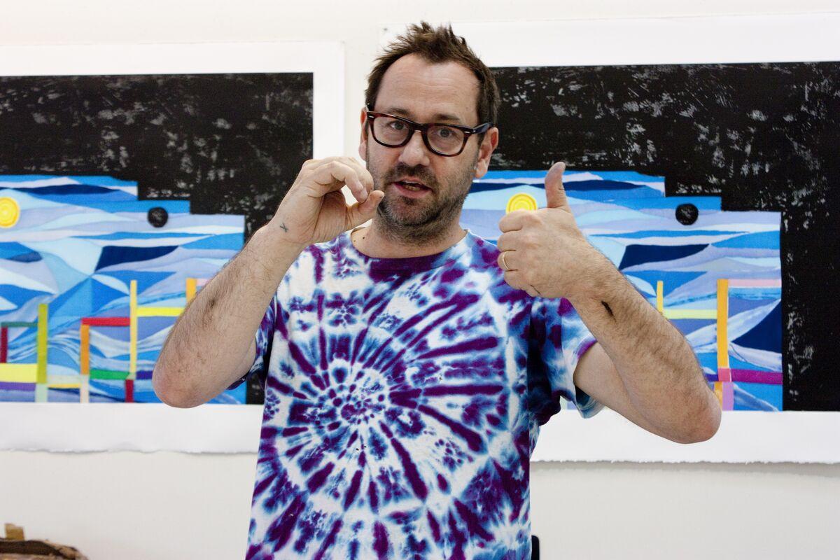 Chris Johanson in the Paulson Bott Press studio 2014. Courtesy of Paulson Bott Press.