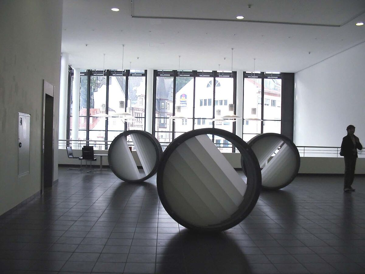 "Annette Sauermann, Lichttrommel (""Light Drum""), 2006Cast concrete and light filter, 55 inch diameter x 22.8 inchesCourtesy C. Grimaldis Gallery and the artist."