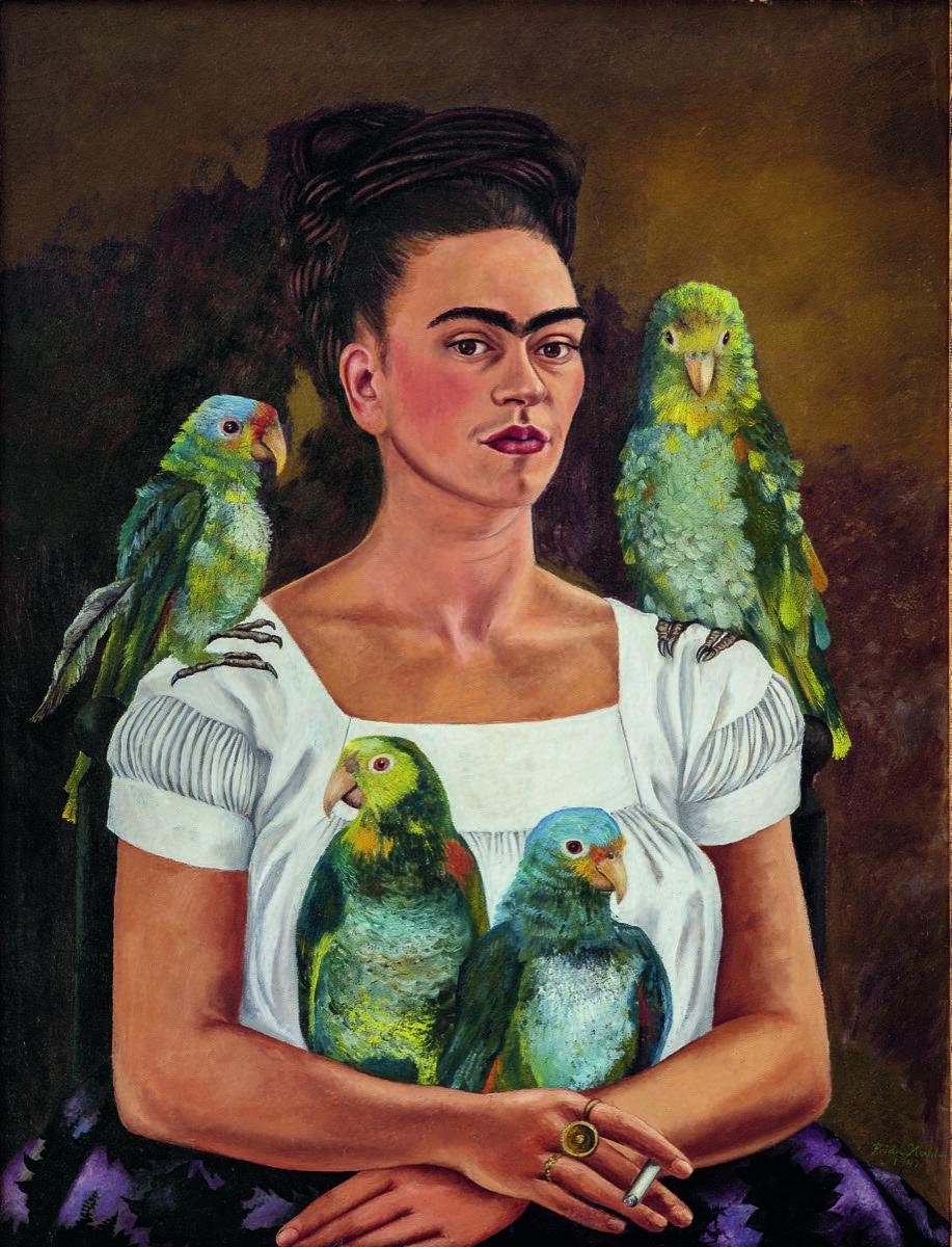 Frida Kahlo, Yo y mis loros, 1941. © 2020 Banco de México Diego Rivera Frida Kahlo Museums Trust, México, DF / Artists Rights Society (ARS), Nueva York.  Cortesía del Museo Whitney de Arte Americano.