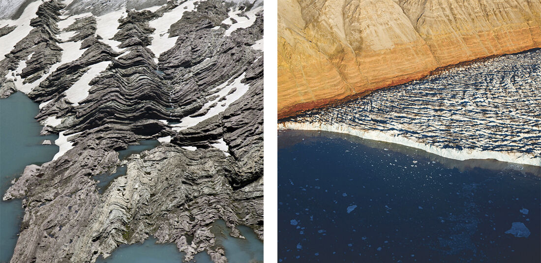 "Diane Burko, ""Over Montana Glacier National Park 4"" (2013) and ""Crevasse Surge 1"" (2013), courtesy LewAllen Galleries."