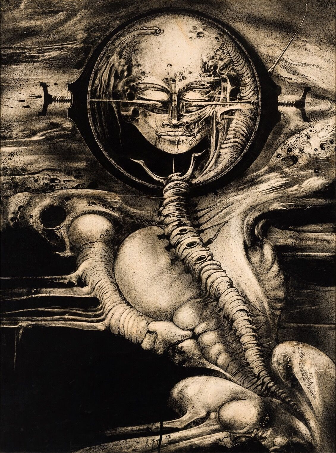 H.R. Giger, Cthulhu (Genius) III, 1967. Courtesy of the H.R. Giger Museum.