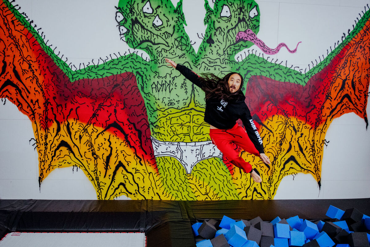 "A custom mural by L.A.–based artist Neck Face overlooks ""Aoki's Playhouse,"" a custom gym with a trampoline, a foam pit, and a rope swing. Photo by Brian Guido for Artsy."