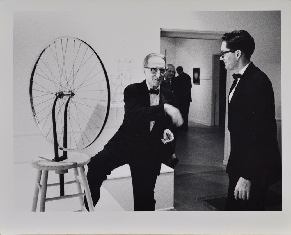 Duchamp with Walter Hopps, Duchamp Retrospective, Pasadena Art Museum