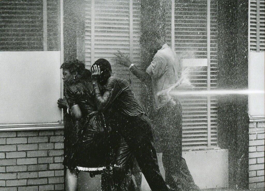 Alabama Fire Department Aims High-Pressure Water Hoses at Civil Rights Demonstrators, Birmingham May 1963