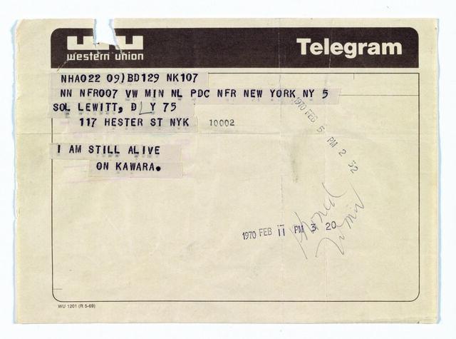 Telegram to Sol LeWitt