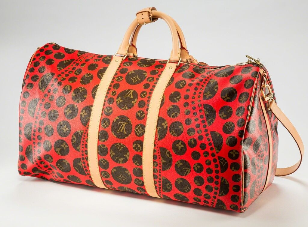Louis Vuitton Limited Edition Red Infinity Dots Monogram Canvas Keepall 55