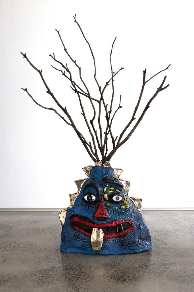 Blue Bronze Figure with Branch Headpiece
