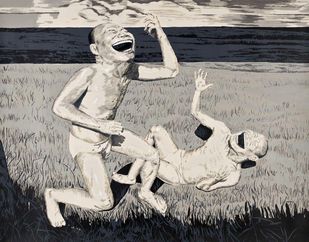 The Grassland Series Screenprint 2 (Two Men in Field)