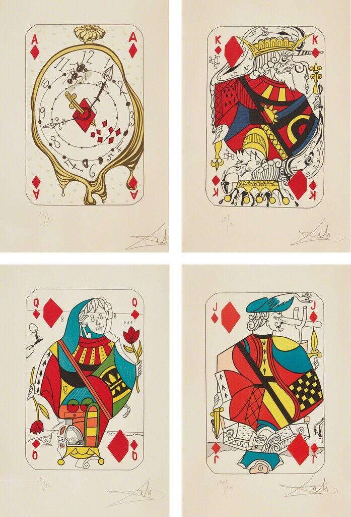 Playing Cards: Ace of Diamonds; King of Diamonds; Queen of Diamonds; and Jack of Diamonds, from Playing-Cards