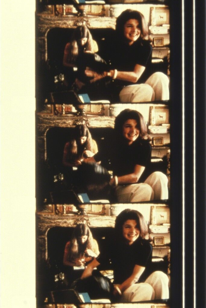 Jackie Kennedy-Onassis with Caroline Kennedy and her dog at her New York home, 1970