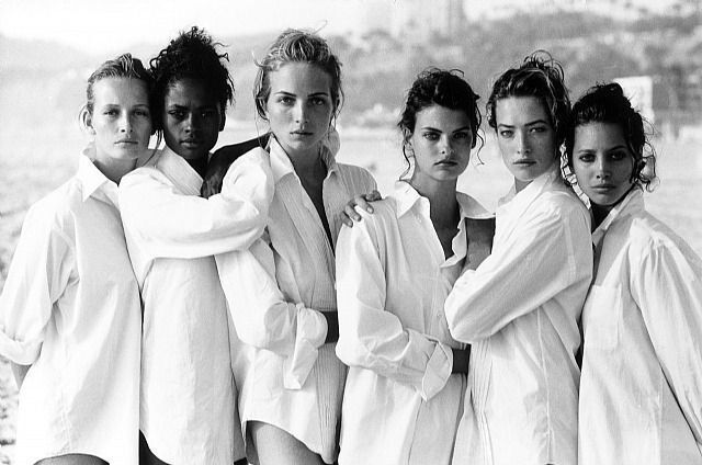 ESTELLE LEFEBURE, KAREN ALEXANDER, RACHEL WILLIAMS, LINDA EVANGELISTA,  TATJANA PATITZ, CHRISTY TURLINGTON, VOGUE U.S.A., SANTA MONICA,  CALIFORNIA