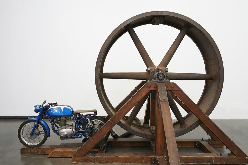 "The Big Wheel. Installation view, ""Chris Burden: Extreme Measures"" at New Museum, New York, 2013"